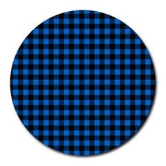 Lumberjack Fabric Pattern Blue Black Round Mousepads by EDDArt