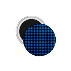 Lumberjack Fabric Pattern Blue Black 1 75  Magnets by EDDArt