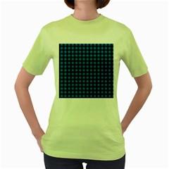 Lumberjack Fabric Pattern Blue Black Women s Green T Shirt by EDDArt