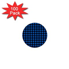 Lumberjack Fabric Pattern Blue Black 1  Mini Buttons (100 Pack)  by EDDArt