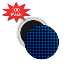 Lumberjack Fabric Pattern Blue Black 1 75  Magnets (100 Pack)  by EDDArt