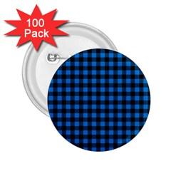 Lumberjack Fabric Pattern Blue Black 2 25  Buttons (100 Pack)  by EDDArt