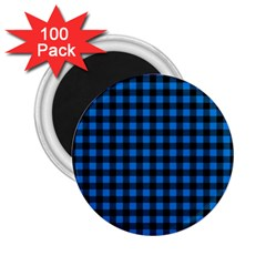 Lumberjack Fabric Pattern Blue Black 2 25  Magnets (100 Pack)  by EDDArt