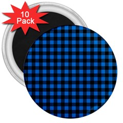 Lumberjack Fabric Pattern Blue Black 3  Magnets (10 Pack)  by EDDArt