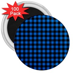 Lumberjack Fabric Pattern Blue Black 3  Magnets (100 Pack) by EDDArt