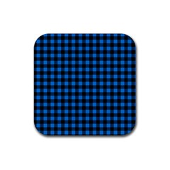 Lumberjack Fabric Pattern Blue Black Rubber Coaster (square)  by EDDArt