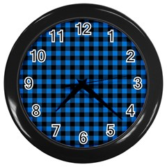 Lumberjack Fabric Pattern Blue Black Wall Clocks (black) by EDDArt