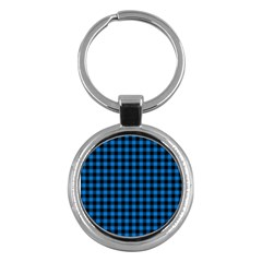 Lumberjack Fabric Pattern Blue Black Key Chains (round)  by EDDArt
