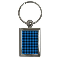 Lumberjack Fabric Pattern Blue Black Key Chains (rectangle)  by EDDArt