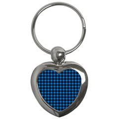 Lumberjack Fabric Pattern Blue Black Key Chains (heart)  by EDDArt