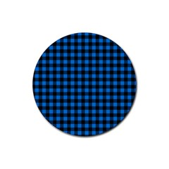 Lumberjack Fabric Pattern Blue Black Rubber Round Coaster (4 Pack)  by EDDArt