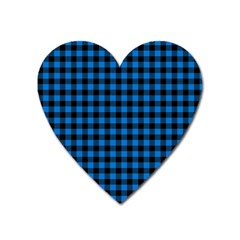 Lumberjack Fabric Pattern Blue Black Heart Magnet by EDDArt