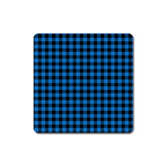Lumberjack Fabric Pattern Blue Black Square Magnet by EDDArt