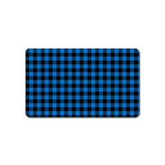 Lumberjack Fabric Pattern Blue Black Magnet (name Card) by EDDArt