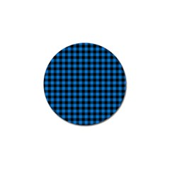 Lumberjack Fabric Pattern Blue Black Golf Ball Marker (4 Pack) by EDDArt
