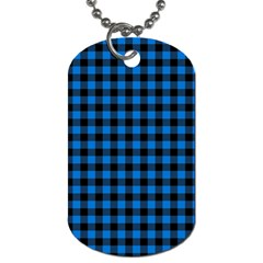 Lumberjack Fabric Pattern Blue Black Dog Tag (two Sides) by EDDArt