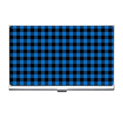 Lumberjack Fabric Pattern Blue Black Business Card Holders by EDDArt