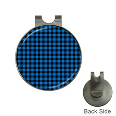 Lumberjack Fabric Pattern Blue Black Hat Clips With Golf Markers by EDDArt