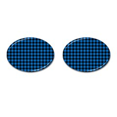 Lumberjack Fabric Pattern Blue Black Cufflinks (oval) by EDDArt