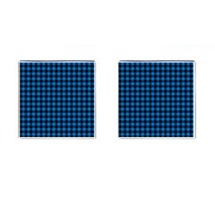 Lumberjack Fabric Pattern Blue Black Cufflinks (square) by EDDArt