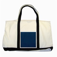 Lumberjack Fabric Pattern Blue Black Two Tone Tote Bag by EDDArt