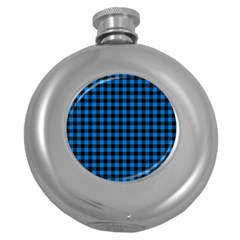 Lumberjack Fabric Pattern Blue Black Round Hip Flask (5 Oz) by EDDArt