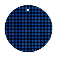 Lumberjack Fabric Pattern Blue Black Round Ornament (two Sides) by EDDArt