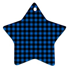 Lumberjack Fabric Pattern Blue Black Star Ornament (two Sides) by EDDArt