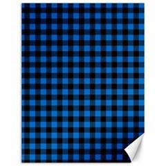 Lumberjack Fabric Pattern Blue Black Canvas 12  X 16   by EDDArt