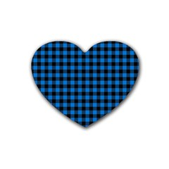 Lumberjack Fabric Pattern Blue Black Rubber Coaster (heart)  by EDDArt