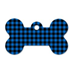 Lumberjack Fabric Pattern Blue Black Dog Tag Bone (one Side) by EDDArt