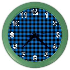 Lumberjack Fabric Pattern Blue Black Color Wall Clocks by EDDArt