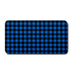 Lumberjack Fabric Pattern Blue Black Medium Bar Mats by EDDArt
