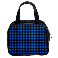 Lumberjack Fabric Pattern Blue Black Classic Handbags (2 Sides) by EDDArt