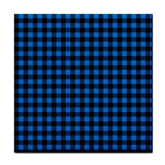 Lumberjack Fabric Pattern Blue Black Face Towel by EDDArt