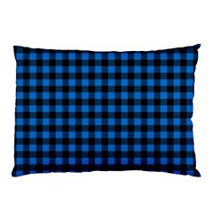 Lumberjack Fabric Pattern Blue Black Pillow Case by EDDArt