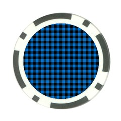 Lumberjack Fabric Pattern Blue Black Poker Chip Card Guard (10 Pack) by EDDArt