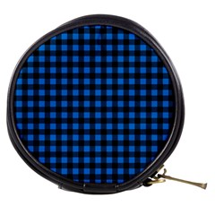 Lumberjack Fabric Pattern Blue Black Mini Makeup Bags by EDDArt