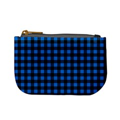 Lumberjack Fabric Pattern Blue Black Mini Coin Purses by EDDArt
