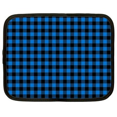 Lumberjack Fabric Pattern Blue Black Netbook Case (xl)  by EDDArt