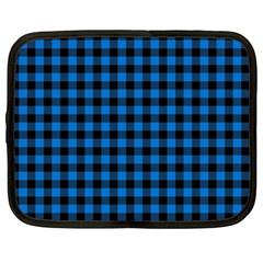 Lumberjack Fabric Pattern Blue Black Netbook Case (xxl)  by EDDArt