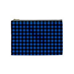 Lumberjack Fabric Pattern Blue Black Cosmetic Bag (medium)  by EDDArt