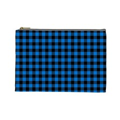 Lumberjack Fabric Pattern Blue Black Cosmetic Bag (large)  by EDDArt
