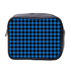 Lumberjack Fabric Pattern Blue Black Mini Toiletries Bag 2 Side by EDDArt