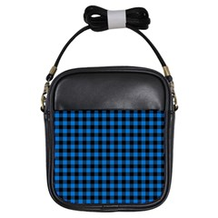 Lumberjack Fabric Pattern Blue Black Girls Sling Bags by EDDArt