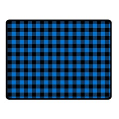 Lumberjack Fabric Pattern Blue Black Fleece Blanket (small) by EDDArt