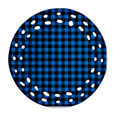 Lumberjack Fabric Pattern Blue Black Ornament (round Filigree) by EDDArt