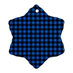 Lumberjack Fabric Pattern Blue Black Ornament (snowflake) by EDDArt