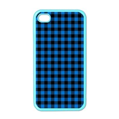 Lumberjack Fabric Pattern Blue Black Apple Iphone 4 Case (color) by EDDArt