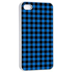 Lumberjack Fabric Pattern Blue Black Apple Iphone 4/4s Seamless Case (white) by EDDArt